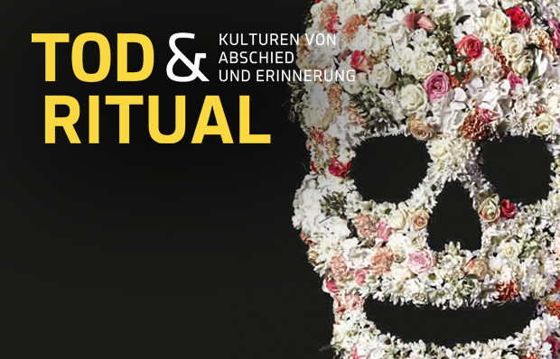 The picture shows the Death & Ritual exhibition marketing image: a flower skull