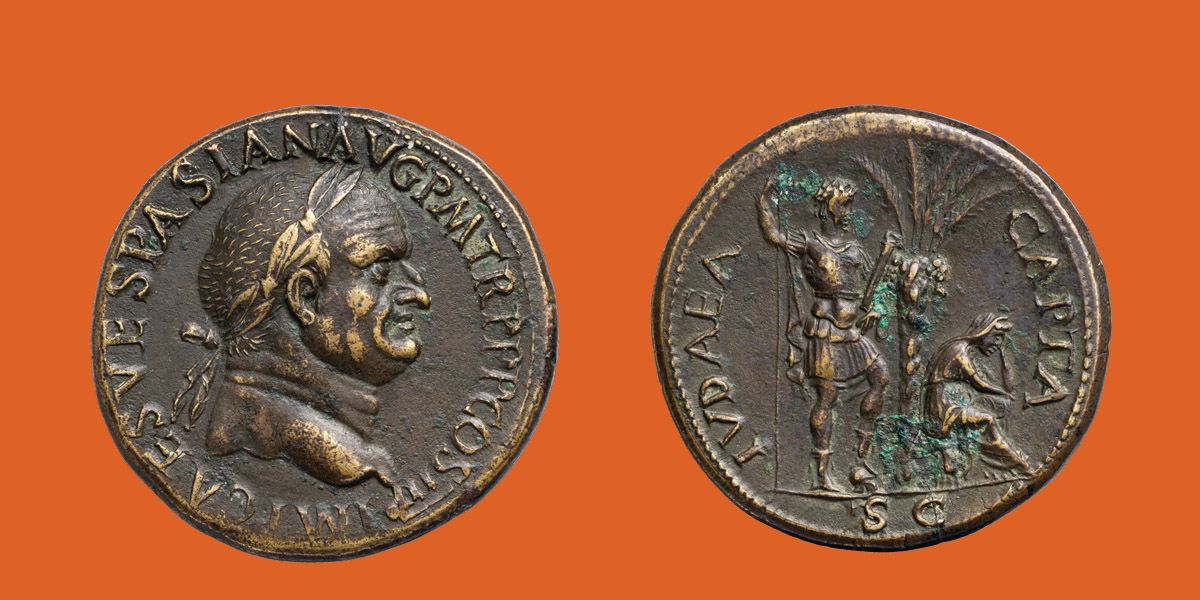 The picture shows front and reverse of a Judaea-capta-coin