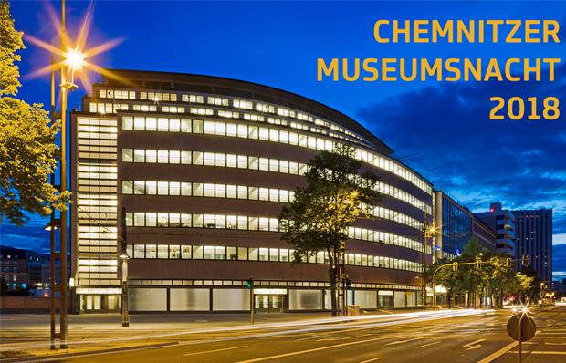 Motiv der Chemnitzer Museumsnacht 2018 ims smac: das historische Gebäude bei Nacht