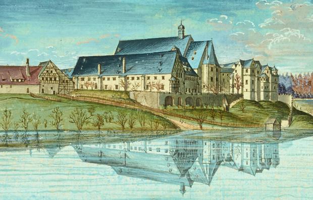 Benediktinerkloster Chemnitz, Ausschnitt aus kolorierter Tuschezeichnung von 1729