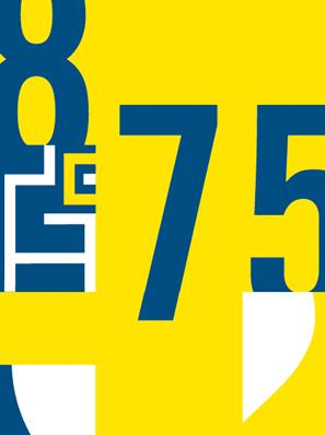 Das Bild zeigt eine gelb-blaue Grafik mit den angeschnittenen Zahlen 8, 7 und 5. Dies ist das Logo der Stadt Chemnitz zu ihrem 875-jährigen Jubiläum.